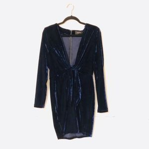 MINKPINK Navy Blue Velvet Dress